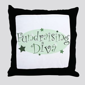 """Fundraising Diva"" [green] Throw Pillow"